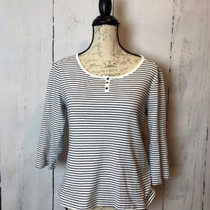 LL Bean Black & White Striped Cotton 3/4 Sleeve To